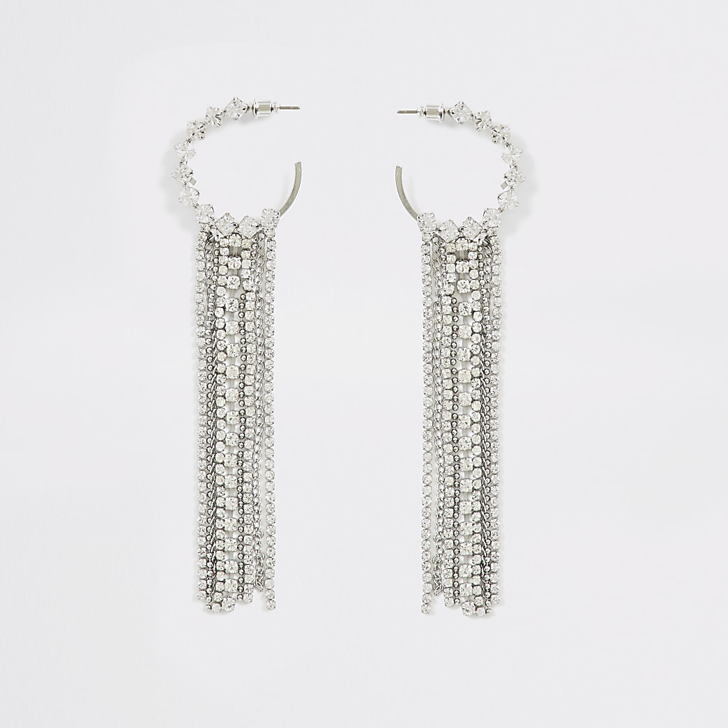 Silver colour diamante tassel hoop earrings