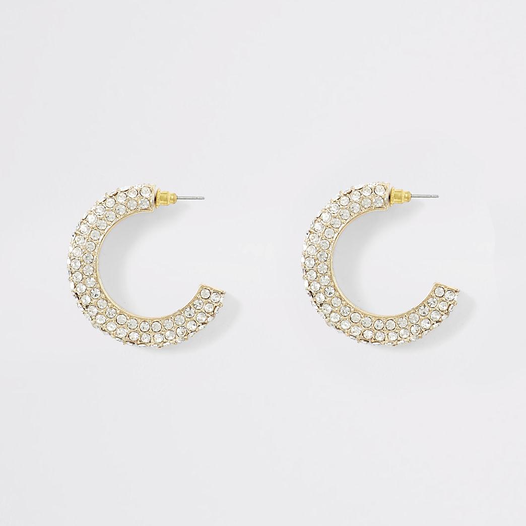 Gold colour chunky diamante hoop earrings