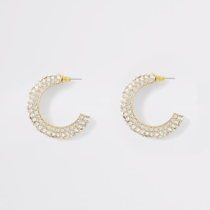 Gold colour chunky diamante hoop earrings