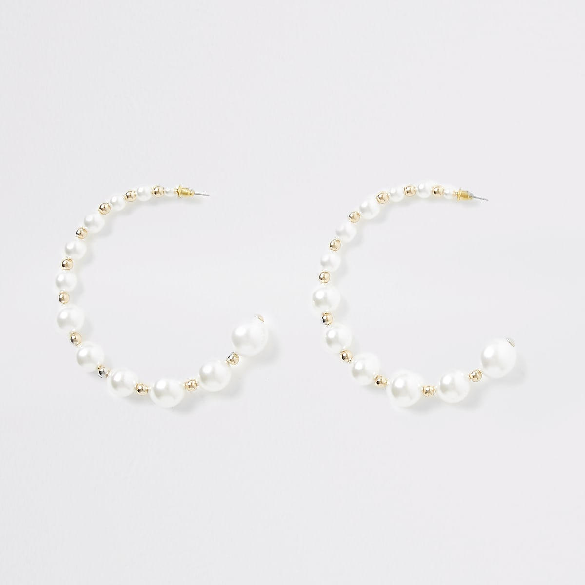 Gold colour pearl beaded hoop earrings
