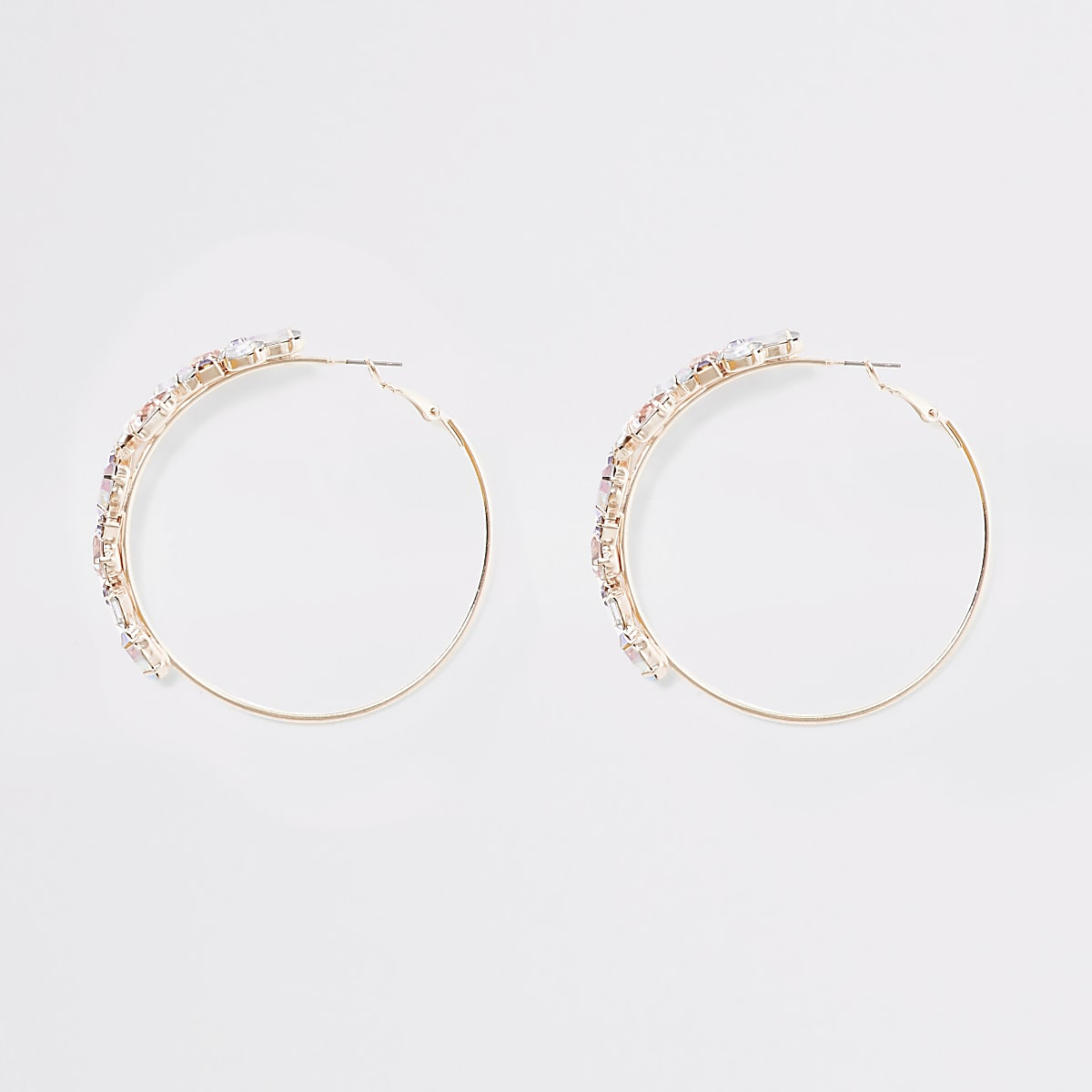 Rose gold colour jewel hoop earrings