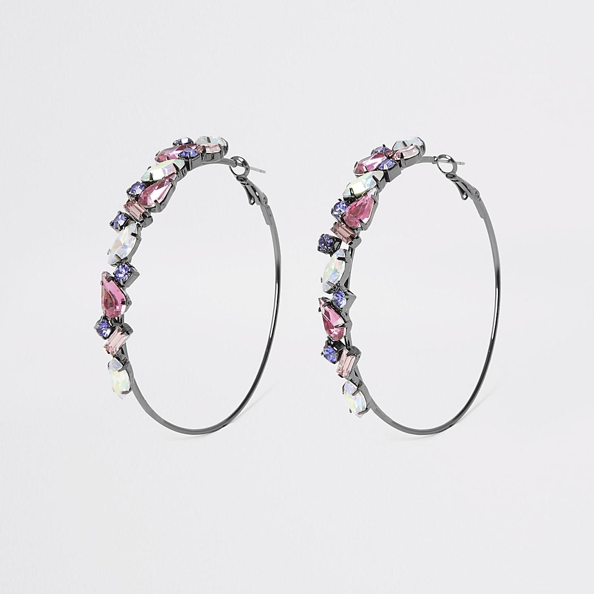 Dark grey jewel hoop earrings