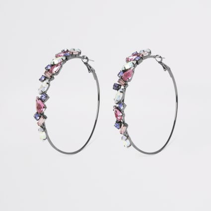 Dark grey jewel hoop earrings
