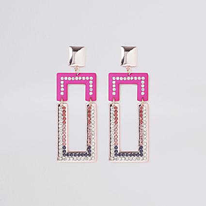 Pink diamante rectangle drop earrings