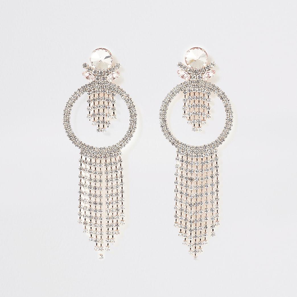 Rose gold colour tassel diamante earrings