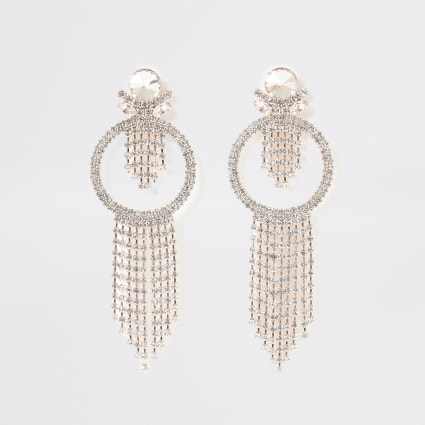 Rose gold tassel diamante jewel drop earrings