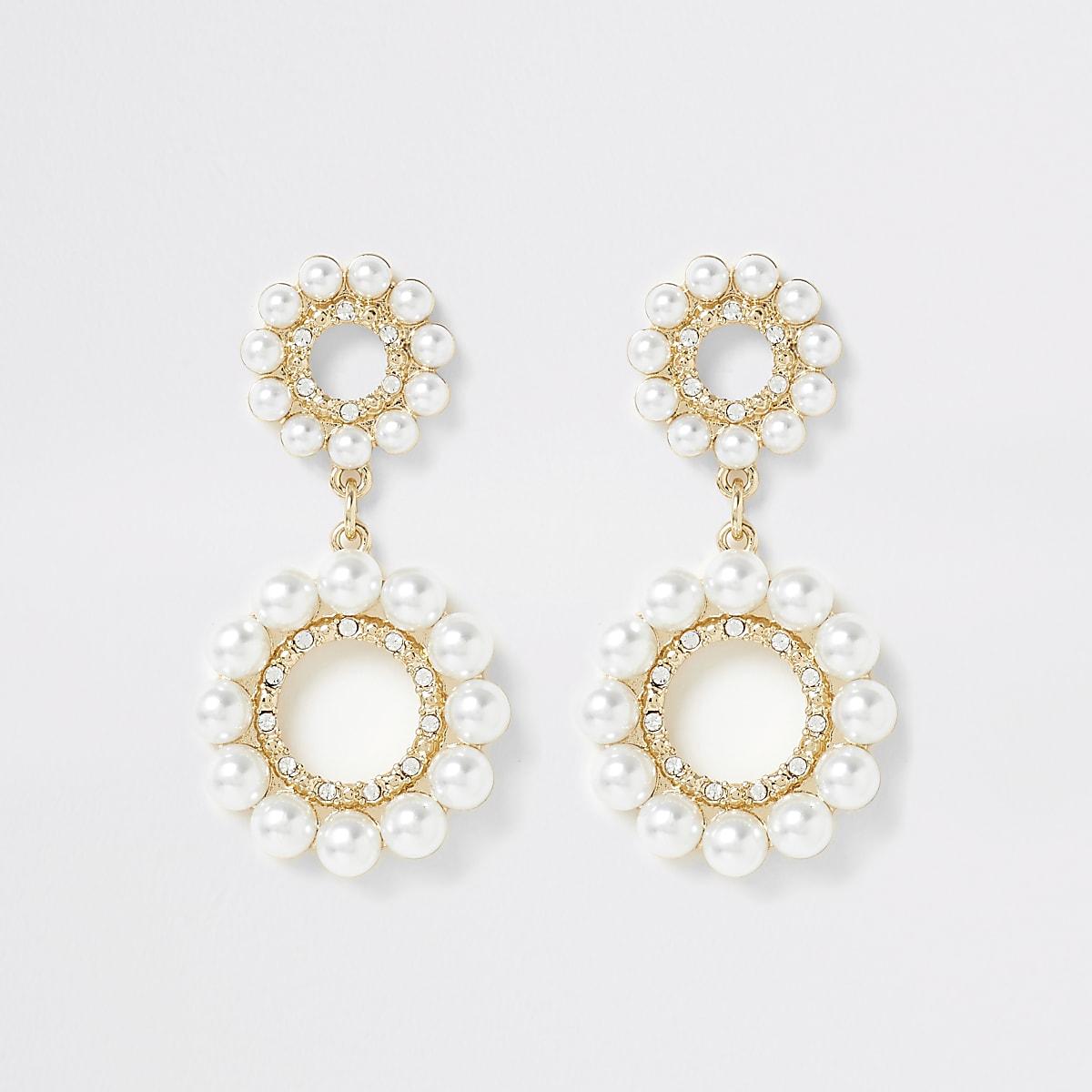Pendants d'oreilles à anneaux dorés à perles