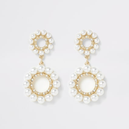 Gold colour pearl ring drop earrings