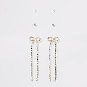 Goldfarbenes Ohrringe-Set mit Strass und Schleife