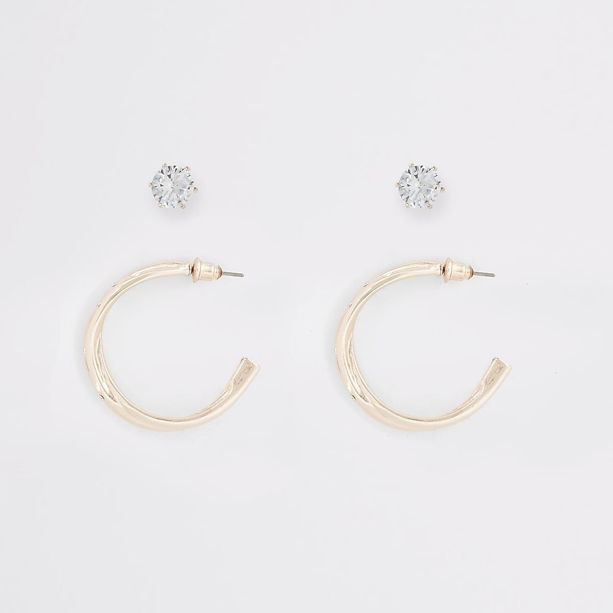Rose gold colour hoop and stud earring 2 pack