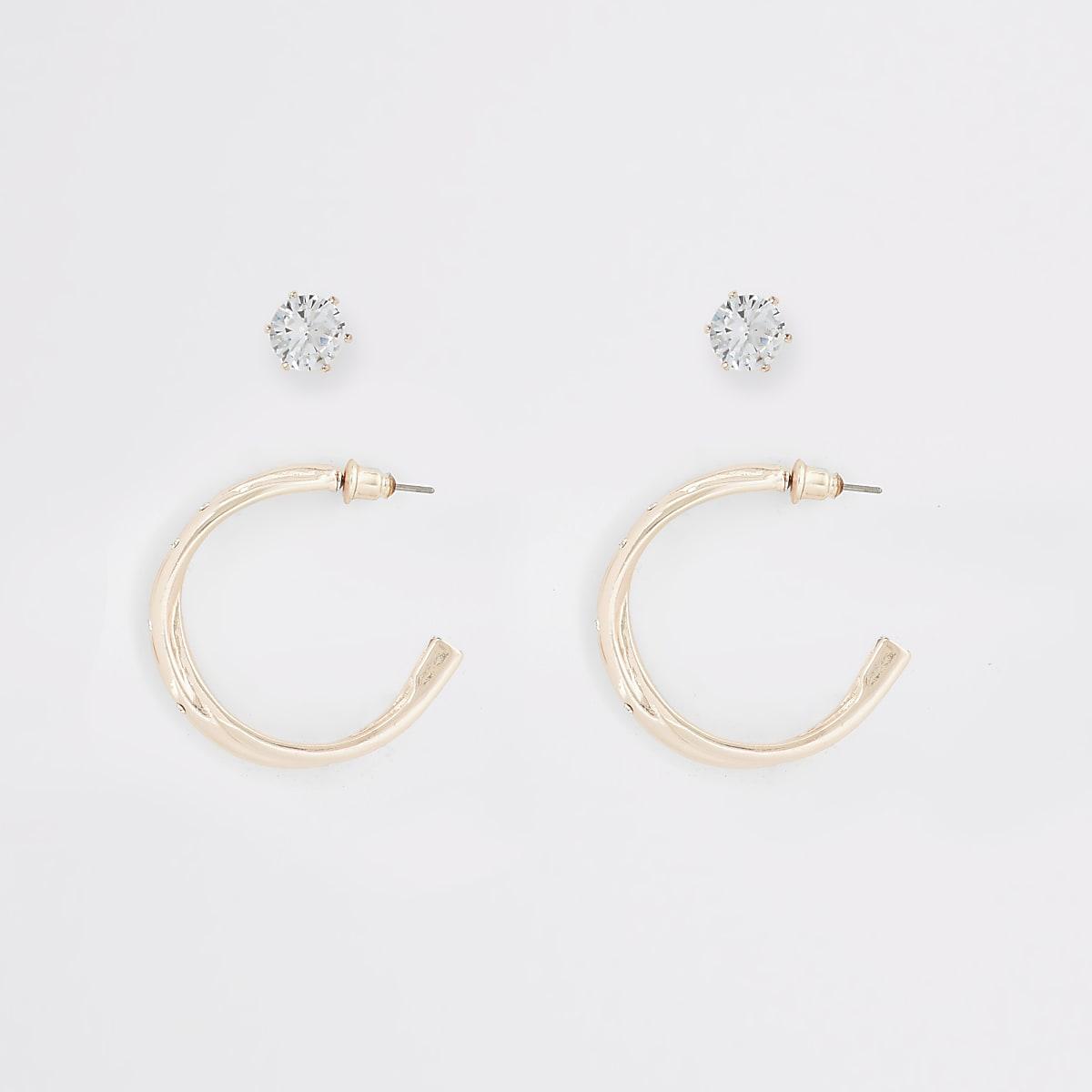 Set van 2 roségouden gebogen oorbellen en oorknopjes
