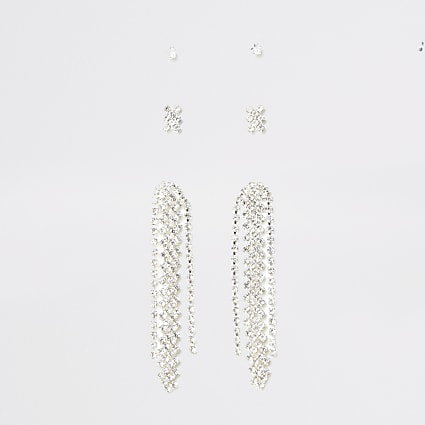 Silver diamante drop stud 3 pack