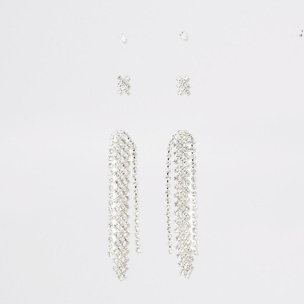 Silver colour diamante drop stud 3 pack