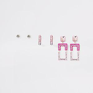 Lot de3 boucles d'oreilles rosesà strass