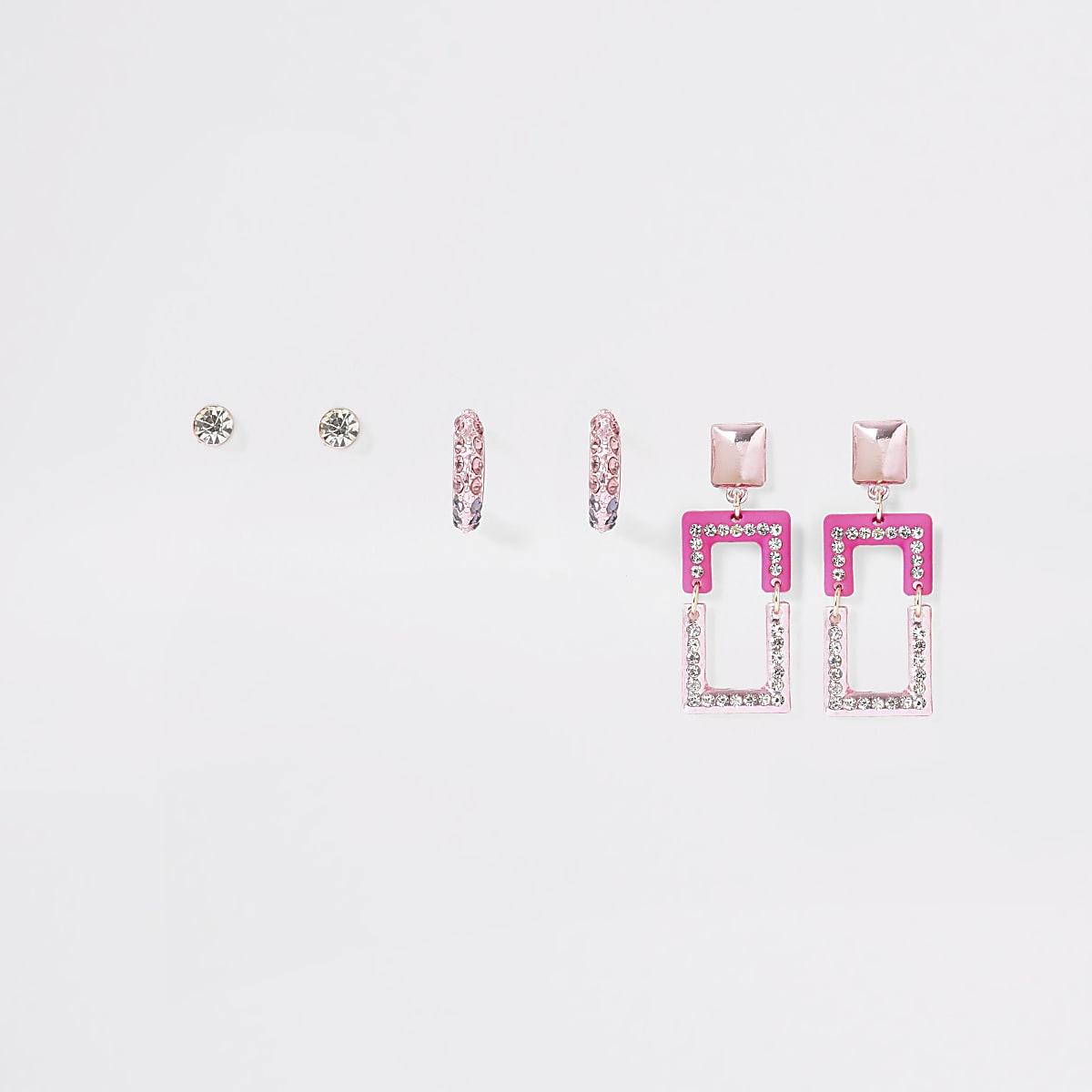 Set van 3 roze oorbellen met siersteentjes