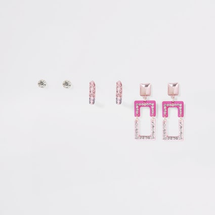 Pink diamante earrings 3 pack