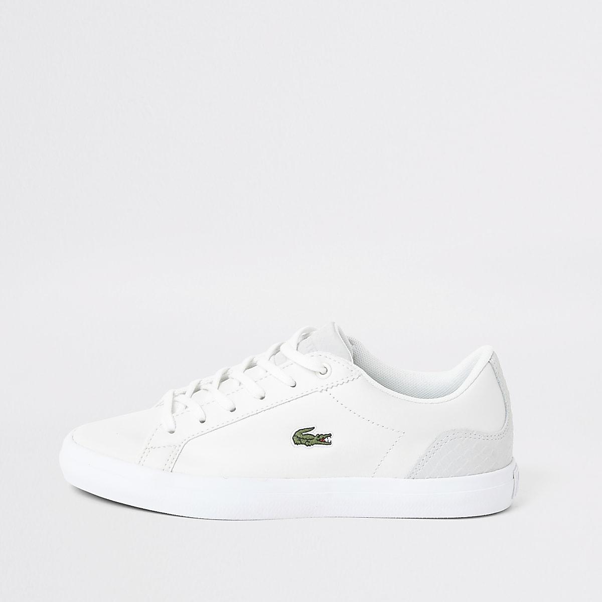 Lacoste - Witte leren sneakers met logo