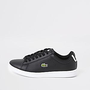 Lacoste – Schwarze Ledersneaker mit Logo