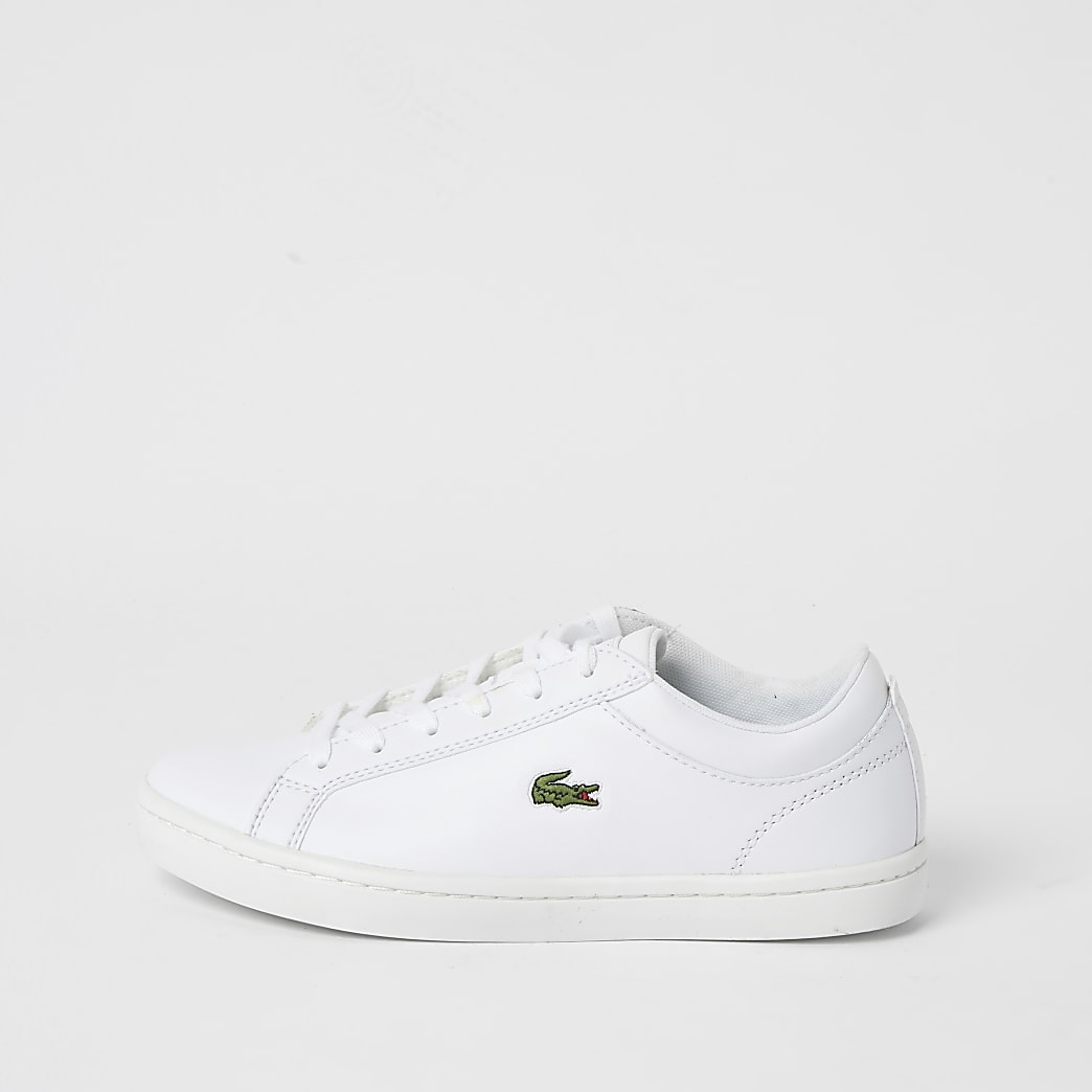 Lacoste white leather lace-up trainers