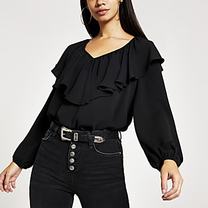 Black long sleeve frill V neck top