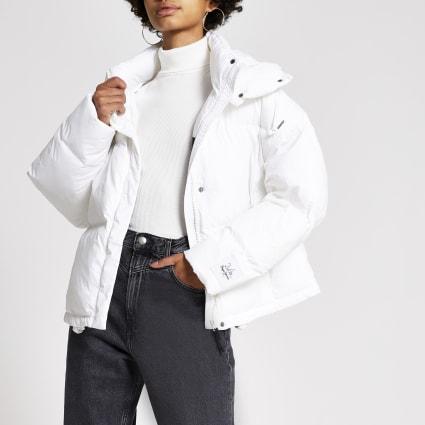 Dua Lipa x Pepe Jeans white crop puffer coat
