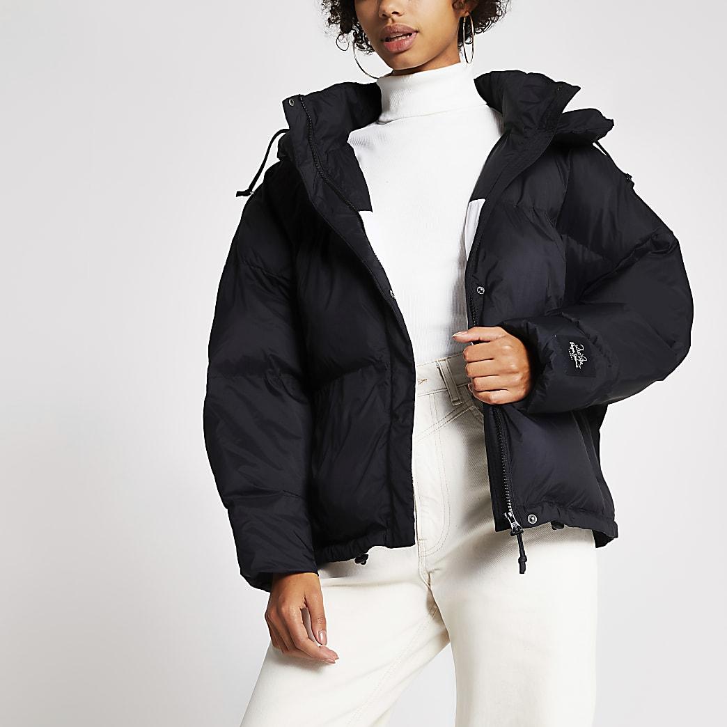 Dua Lipa x Pepe Jeans black crop puffer coat