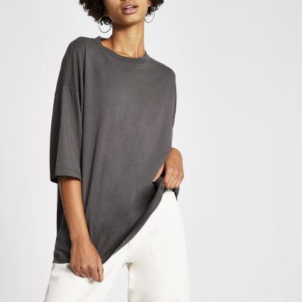 Dua Lipa x Pepe Jeans grey oversized T-shirt