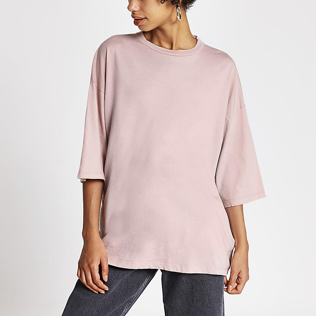 Dua Lipa x Pepe Jeans pink oversized T-shirt
