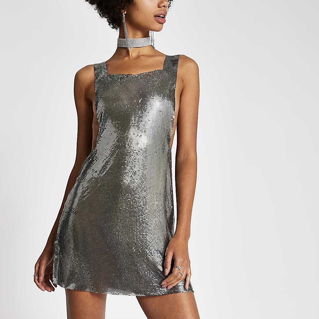 Dua Lipa x Pepe Jeans silver chainmail dress