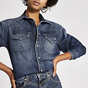 Dua Lipa x Pepe Jeans - Blauw denim overhemd