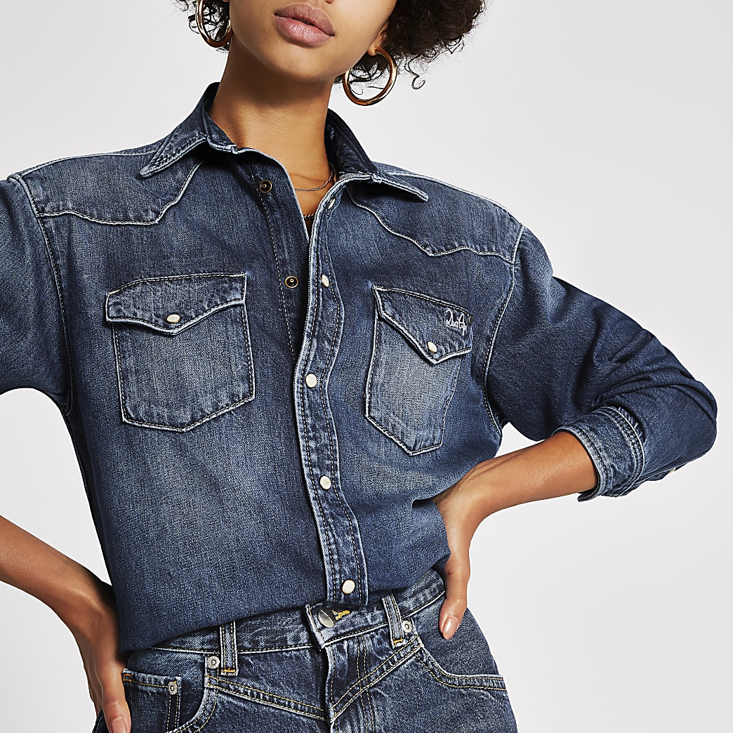 Dua Lipa x Pepe Jeans blue denim shirt