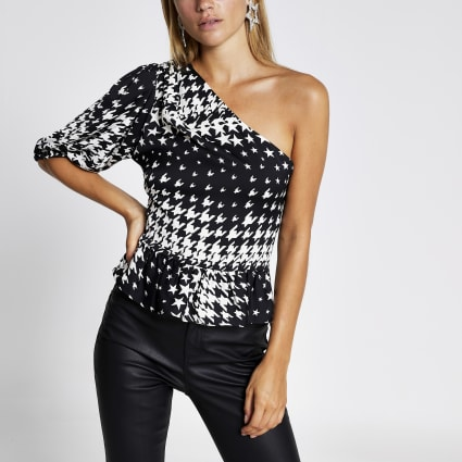 Black print one shoulder peplum top