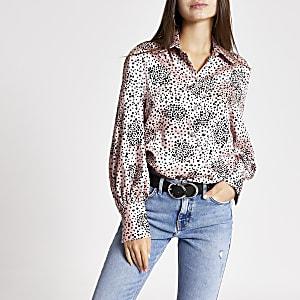 Pink heart print long sleeve boyfriend shirt
