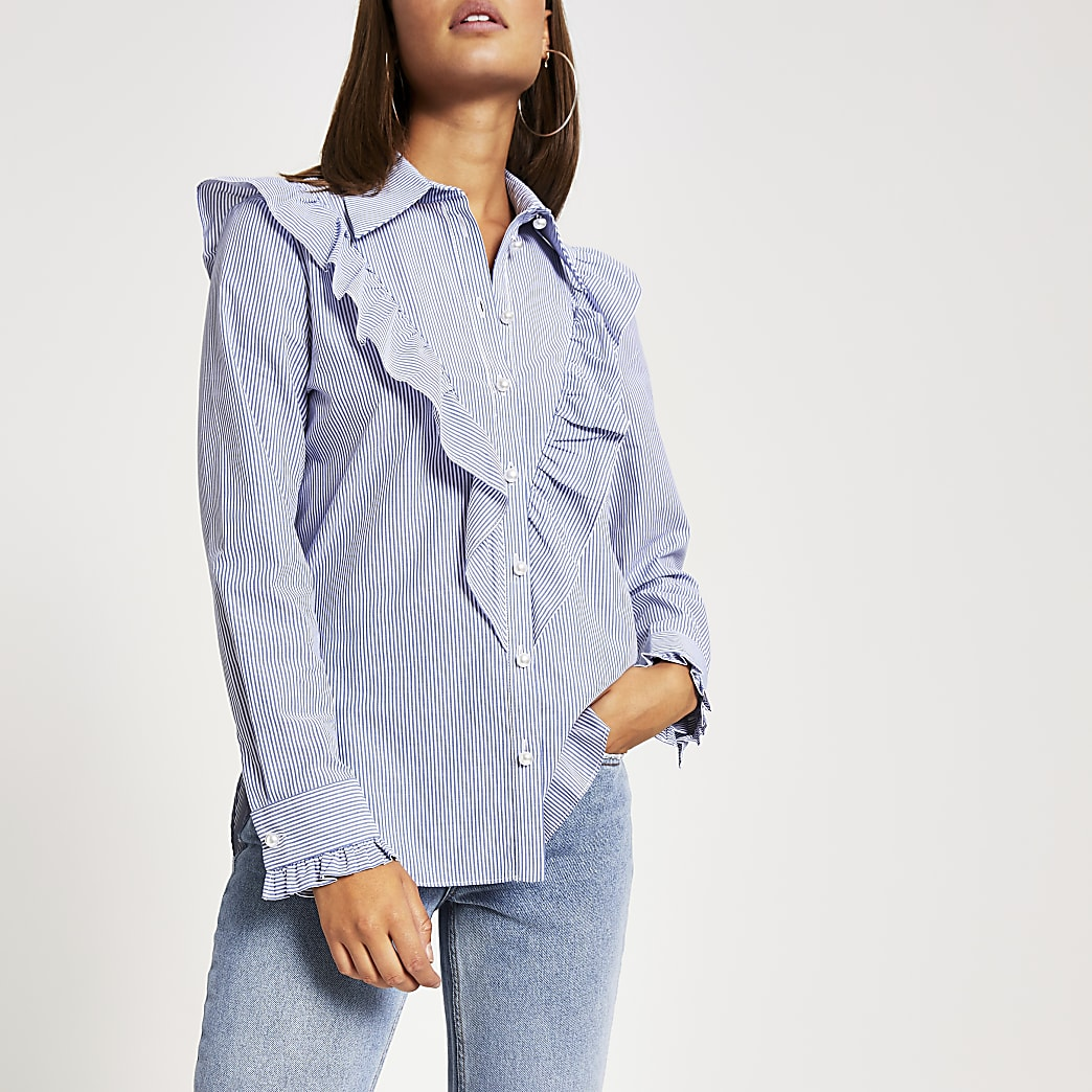 Blue stripe frill front long sleeve shirt