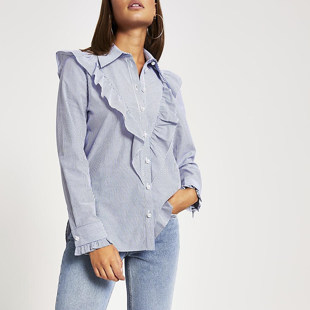 Blauw gestreept overhemd met lange mouwen en ruches