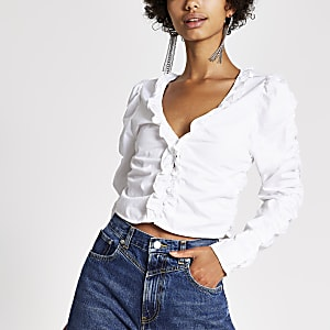 Dua Lipa x Pepe Jeans -Haut blanc froncé
