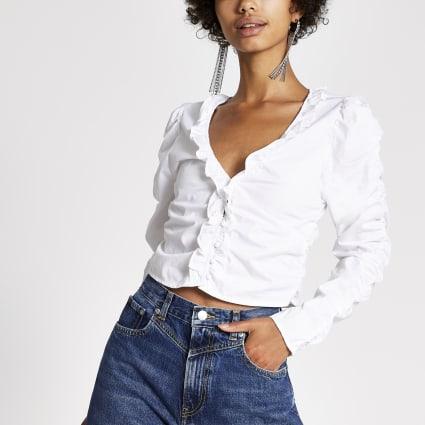 Dua Lipa x Pepe Jeans white ruched top