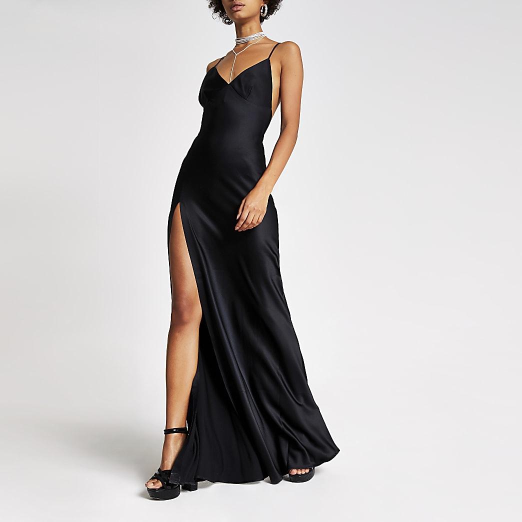 Dua Lipa x Pepe Jeans black slip dress