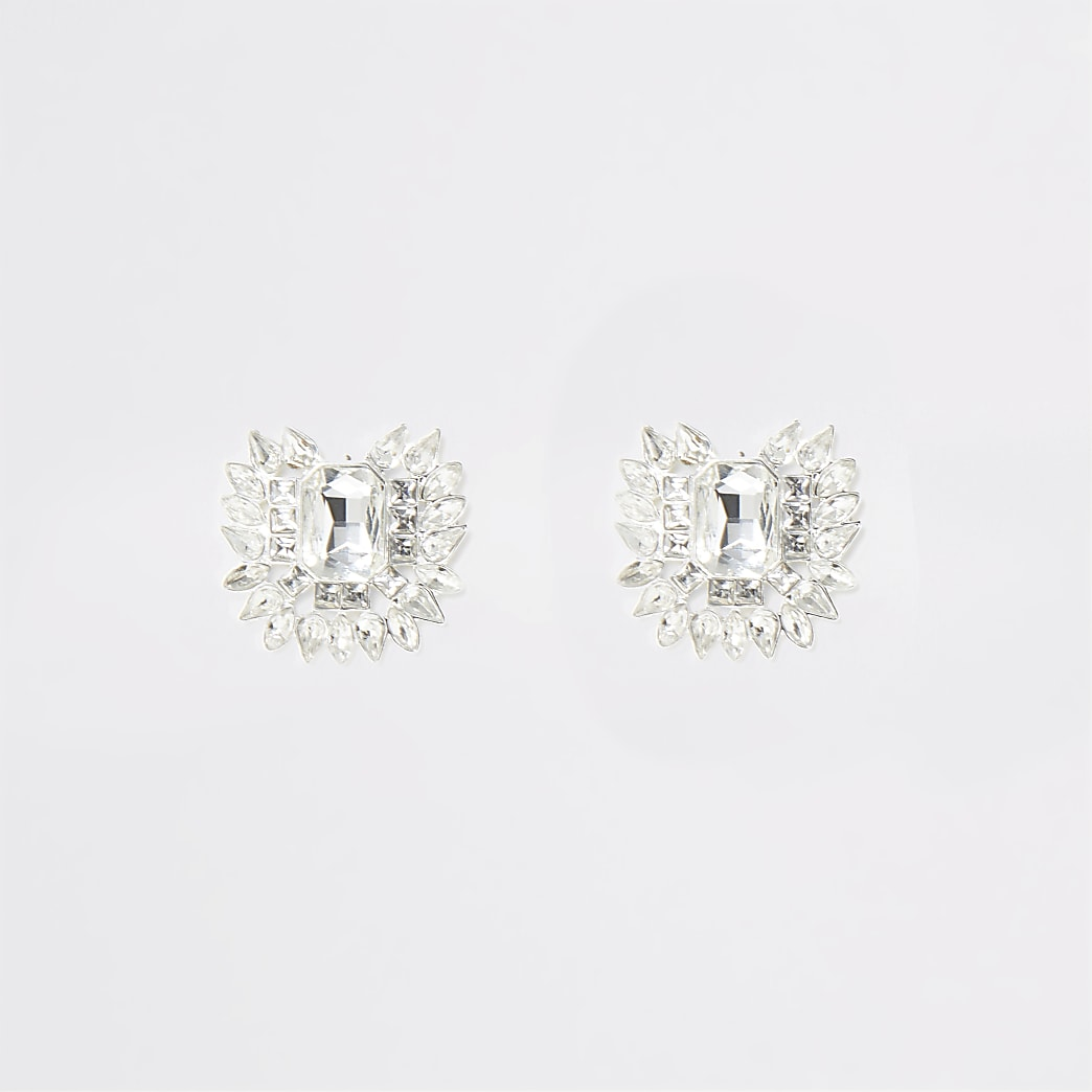 Silver colour jewel statement stud earrings