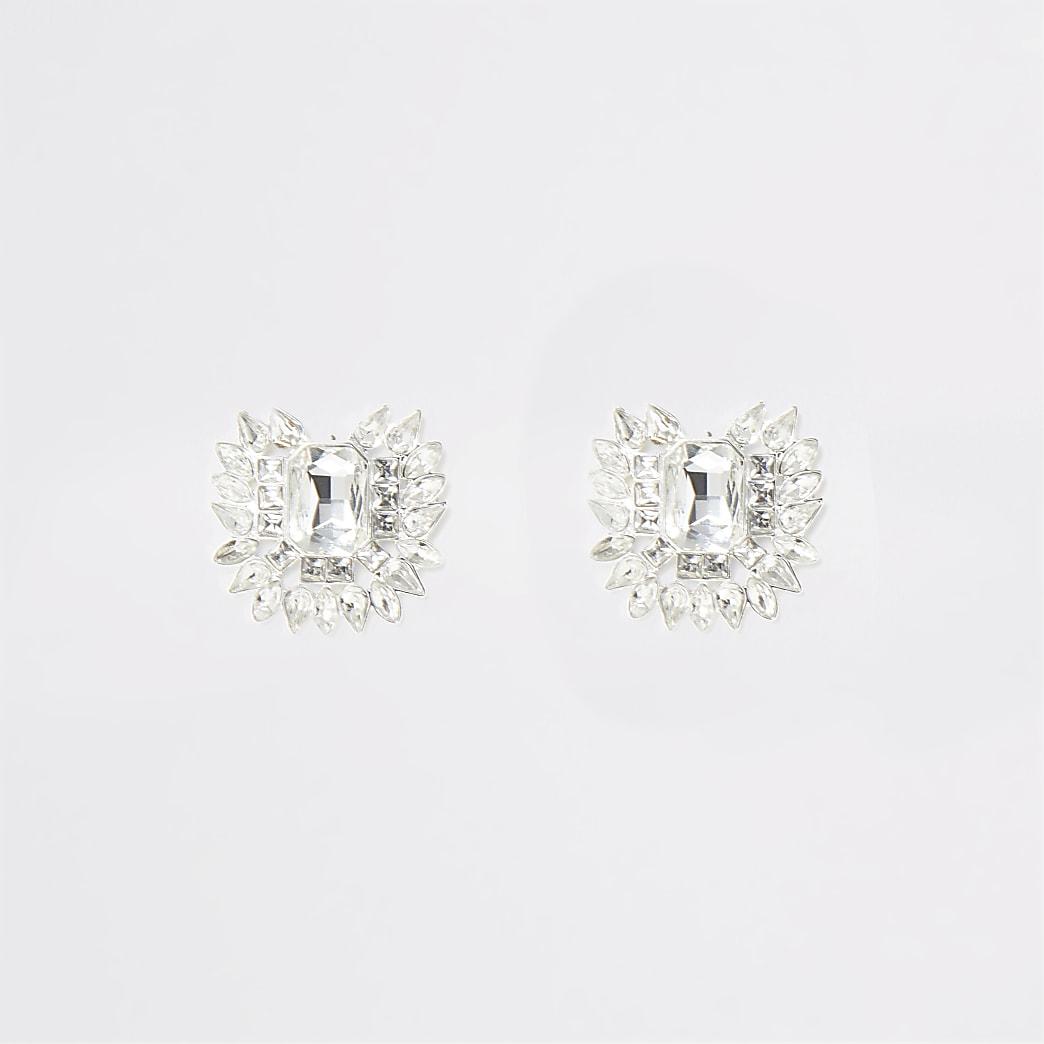 Zilverkleurige statement oorknopjes met juwelen