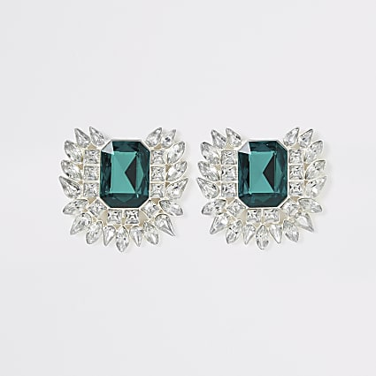 Green diamante jewel statement earrings