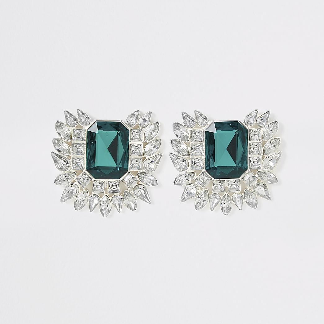 Green diamante jewel statement earrings