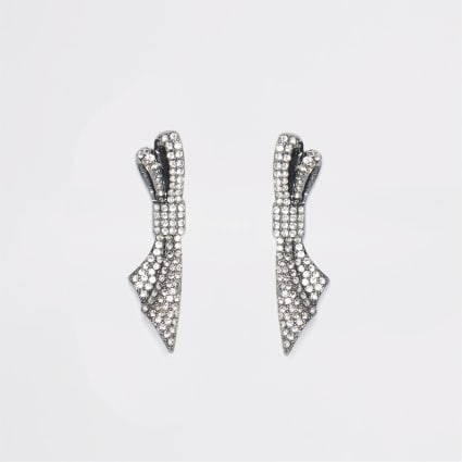 Grey diamante bow stud drop earrings
