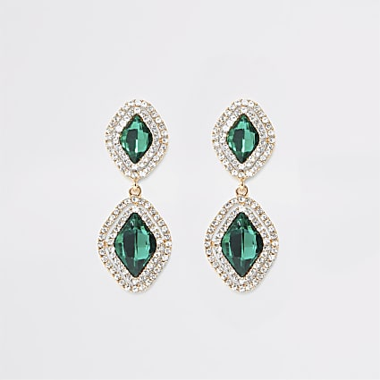 Green jewel diamante paved drop earrings