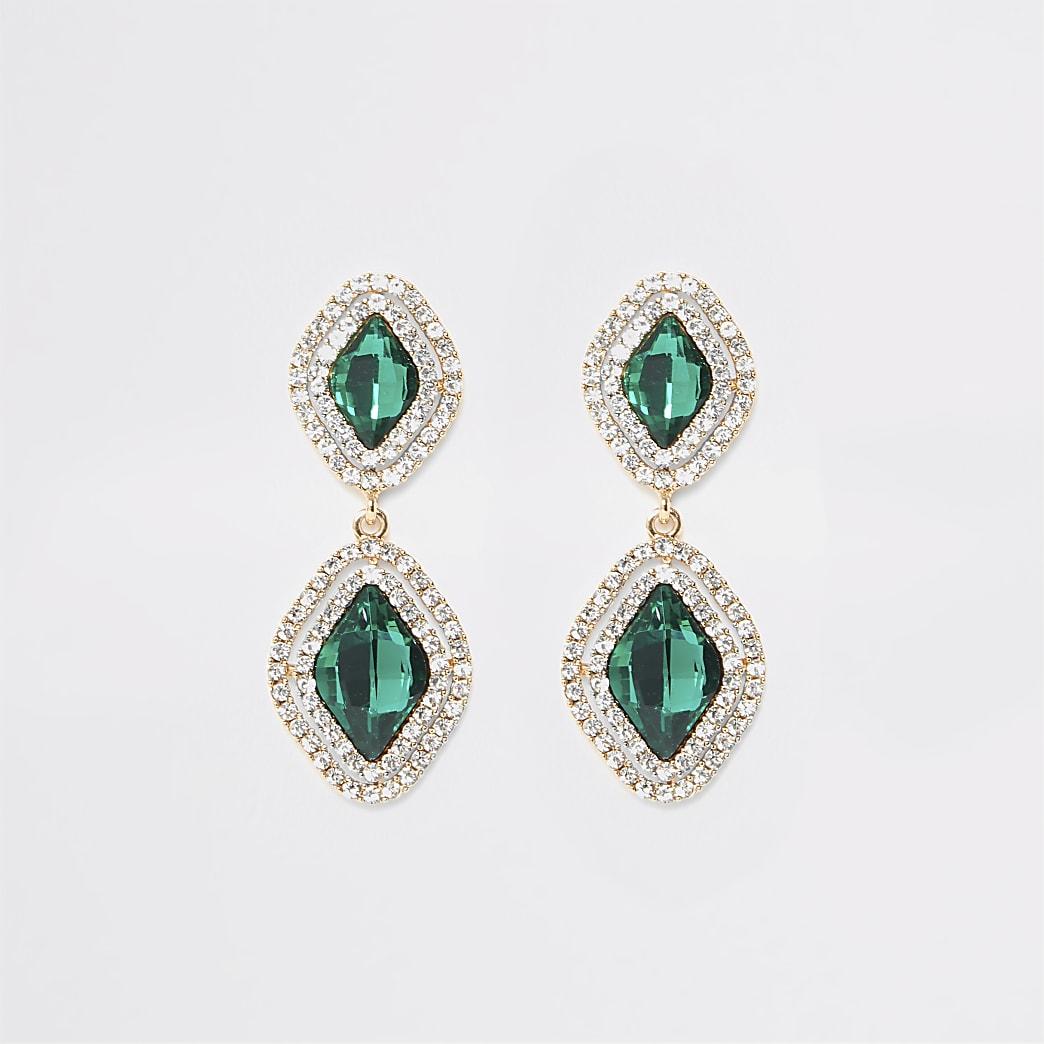 Green jewel diamante paved drop earrings