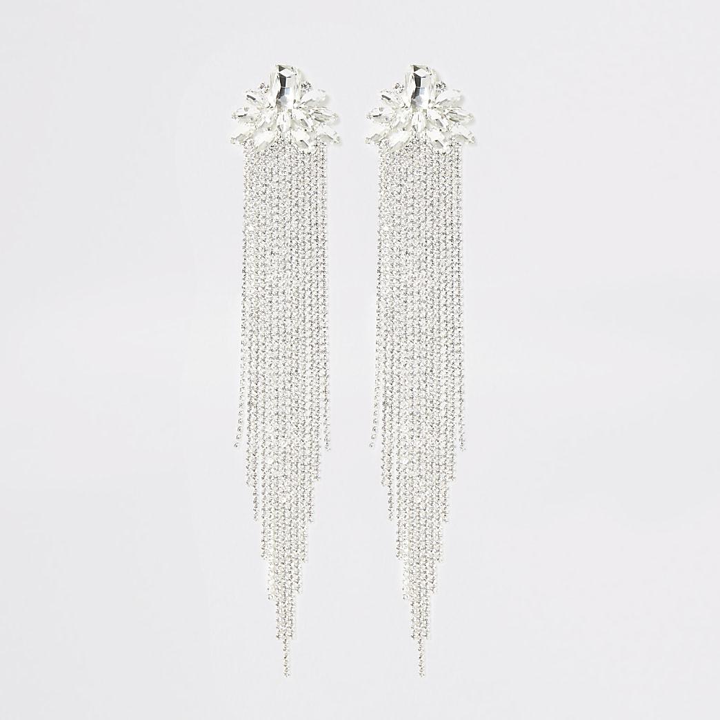 Silver colour diamante tassel drop earrings
