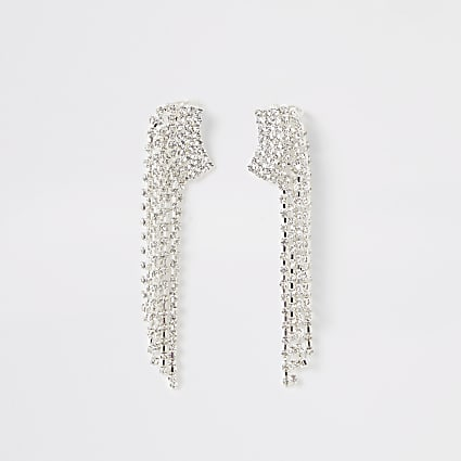 Silver colour diamante tassel ear cuffs