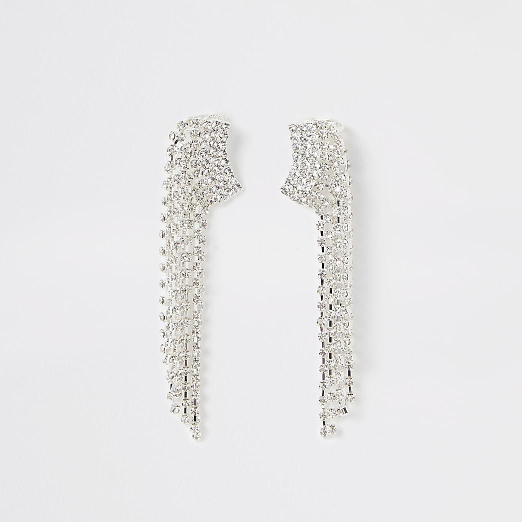 Silver colour diamante tassel ear cuffs