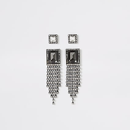 Black rectangle tassel drop earrings 2 pack