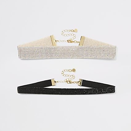 Silver and black diamante choker multipack